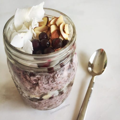 overnight oats, blueberry, blueberry overnight oats, breakfast, healthy , healthy breakfast, easy breakfast