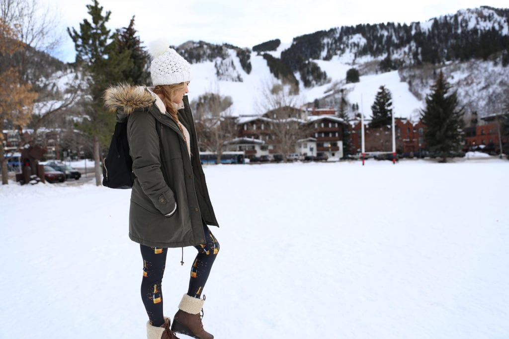 goldsheep champagne leggings in the snow