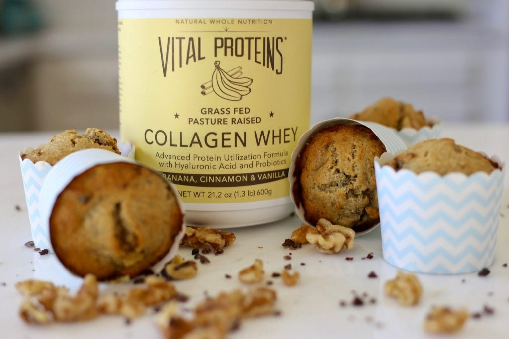 vital collagen peptides, collagen whey protein, vital proteins collagen peptides, vital proteins collagen whey, workout guide, meal plans, healthy recipes, Banana Nut Cacao Muffins